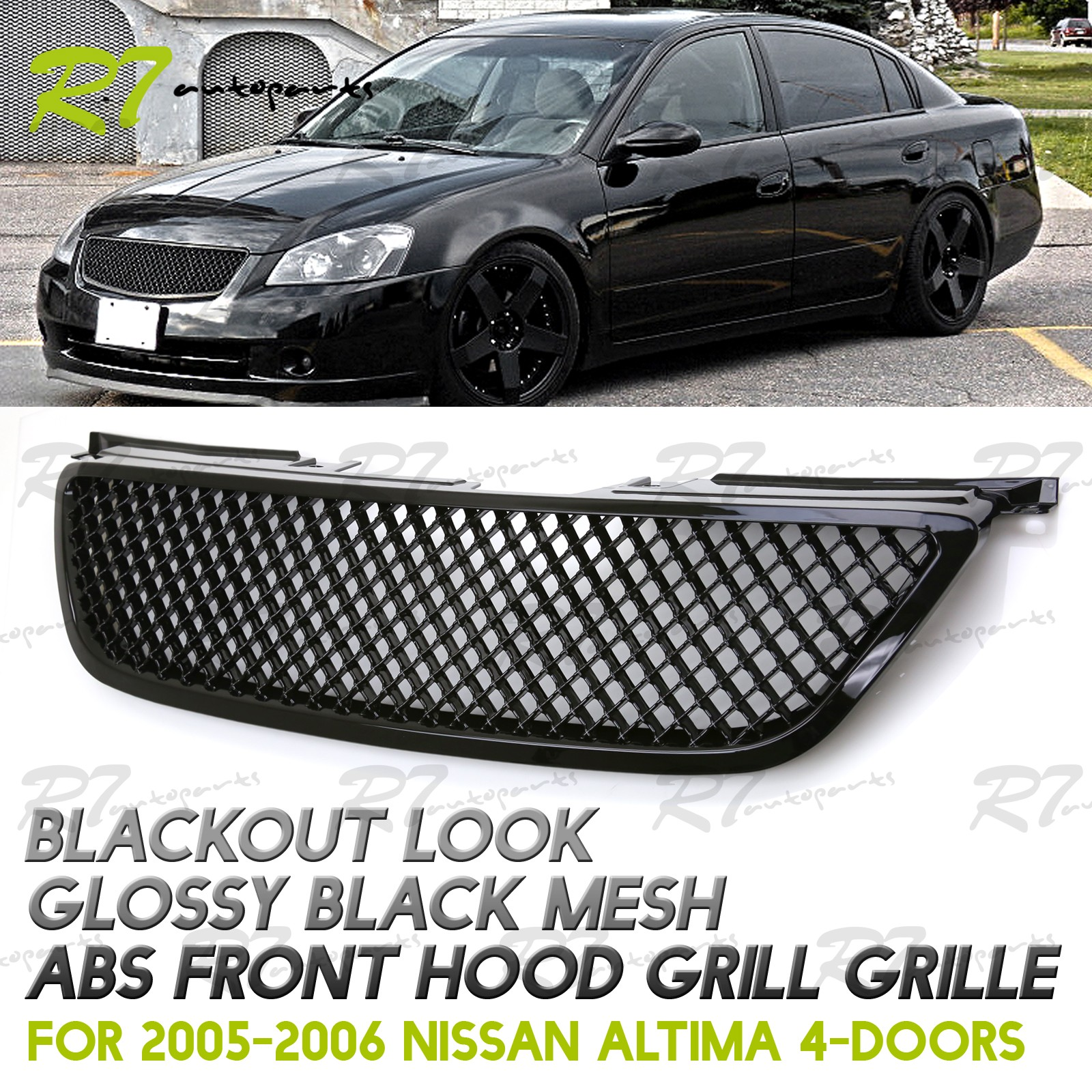 FITS 02 04 NISSAN ALTIMA BLACK OUT JDM STYLE 3D MESH ABS FRONT