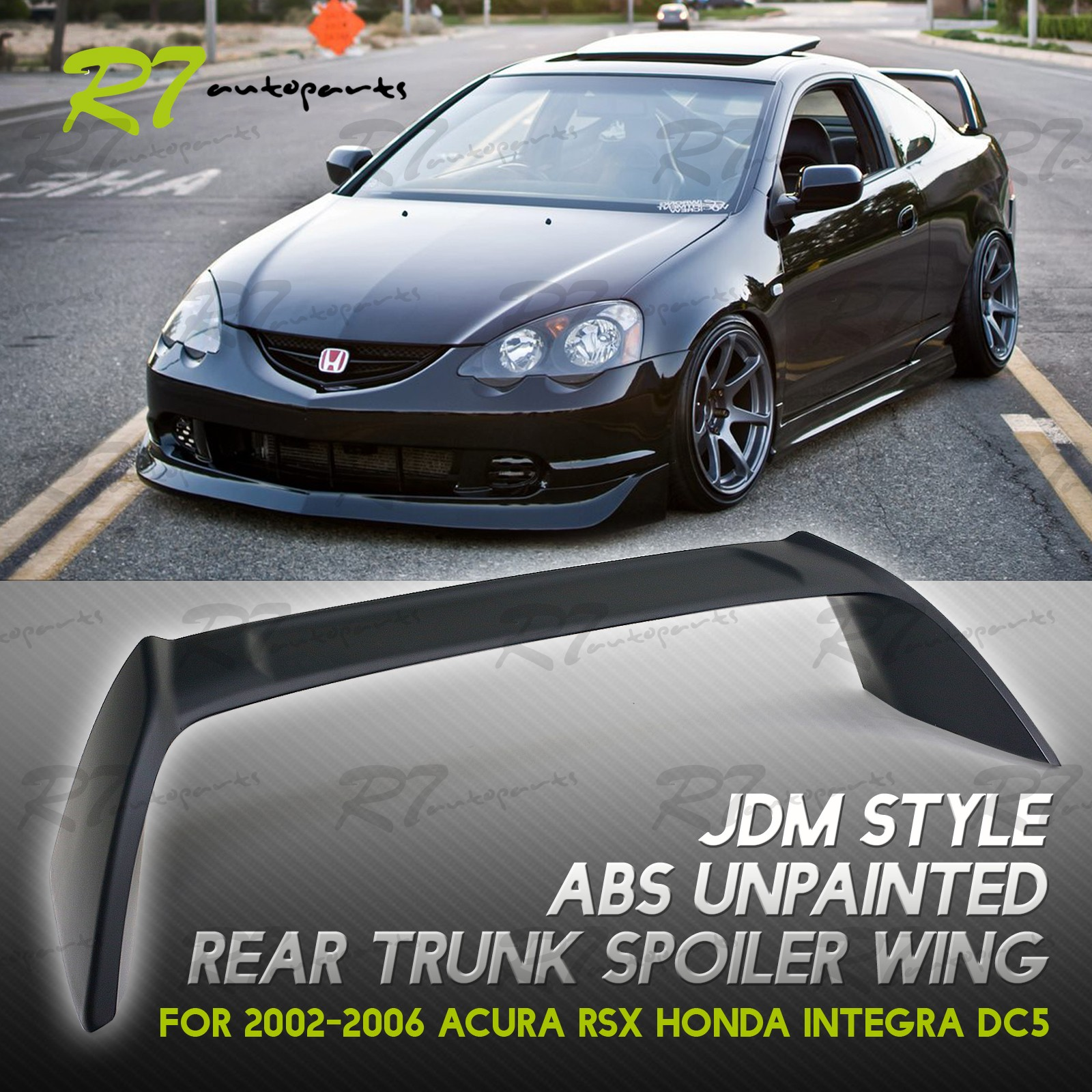 FOR 02-06 ACURA RSX DC5 JDM ABS MATTE BLACK TYPE-R STYL