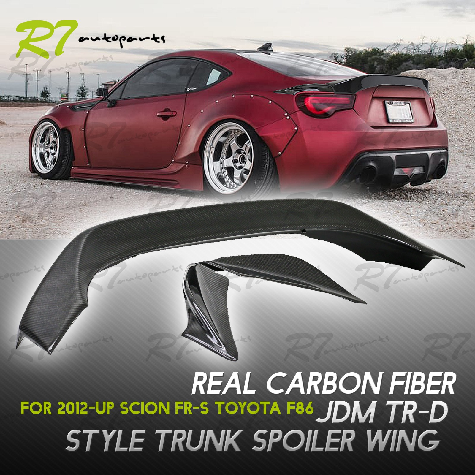 FOR 13 17 FRS 86 BRZ TRD STYLE 3PC CARBON FIBER DUCKTAIL REAR TOP